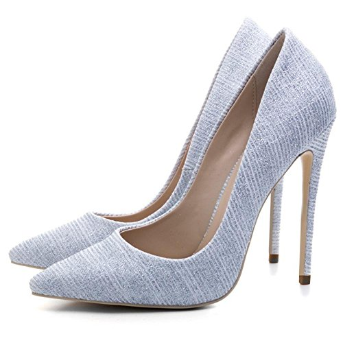 Femmes Stylet Haute Talon Pointu Tribunal Intelligent Fête Travail Or Bleu Chaussures Pompes Taille Silver NkG2x2
