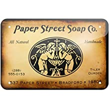 """Metal Sign Paper Street Soap Co. Fight Club, Small 8x12"""" - Neonblond"""