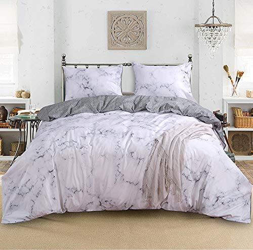 Smoofy 3 Piece Duvet Cover Set, Marble Luxury Comforter Quilt Cover 100% Cotton Comfortable Hypoallergenic Bedding Sets with Zipper Closure (White, Twin)