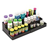 mDesign 3-Tier Expandable Vitamin Organizer Rack Cabinet for Bathroom Vanity Counter Top - Black