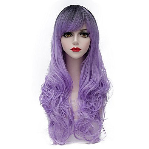 Costumes Lolita Wig Purple (TopWigy Women's Wig Long Wavy Wig Fashionable Lolita Wig Costume Cosplay Synthetic Wig Purple Wigs with Bangs for Ladies Girls +Wig Cap(Light)
