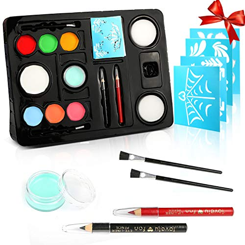 Face Paint Kit for Kids Birthday Festival, Gifort 8 Colors Quality Non Toxic Body Paint with 1 Glitter Gels 2 Long Brush, 2 Short Brush, 2 Sponges and Face Painting Book for Christmas Halloween Party for $<!--$14.99-->
