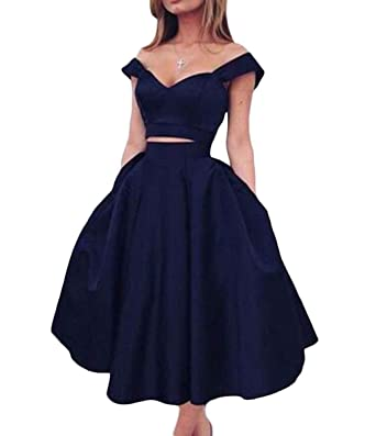 JQLD Womens Two Piece Prom Dress Off Shoulder Satin Tea Length Homecoming Gowns US2 Navyblue