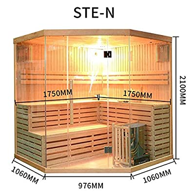 ALEKO CED3CMUR Canadian Red Cedar Indoor Wet Dry Two Level Sauna and Steam Room 4.5 kW ETL Certified Heater 4 Person 69 x 69 x 83 Inches