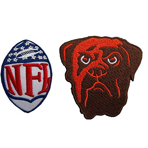 Hipatch Cleveland Browns Logo Embroidered Patch Iron on Logo Vest Jacket Cap Hoodie Backpack Patch Iron On/sew on Patch Set of 2Pcs