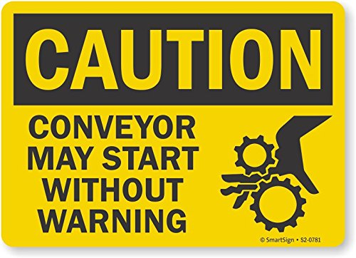 Conveyor May Start without Warning Plastic Sign Smartsign S2-0781-PL-14Caution