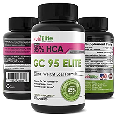 NutriElite 95% HCA Pure Garcinia Cambogia Extract ? The Best Premium Powerful Appetite Suppressant and Leads To Full Time Energy and Assists With Slimming ? Elite Weight Loss Products are All Natural ? This Fat Burner Works With Colon Cleanse Pills Contai