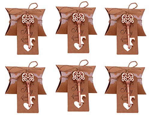 Gold Favor Wedding - Wedding Favors for Guests 100 Pack Mixed Large Skeleton Key Bottle Openers (Rose Gold) with Tag and Pillow Candy Box and Twine Vintage Bridal Shower Favors Bottle Openers (100 pack Rose Gold-style3)