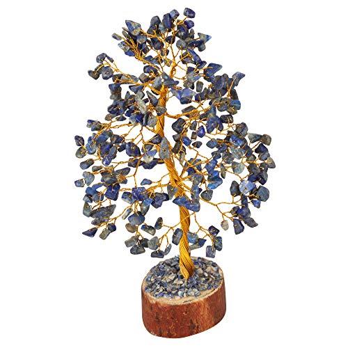 FASHIONZAADI Lapis Lazuli Gemstone Tree Healing Crystal Chakra Bonsai MoneyTrees Reiki Stone Good Luck Crystals Home Office Table Décor Decorative Figurine Gift Size -10 Inch (Golden Wire)