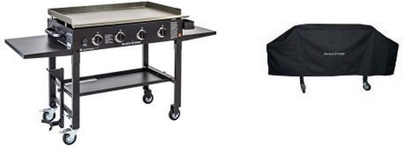 Blackstone 36 inch Outdoor Flat Top Gas Grill Griddle Station - 4-burner - Propane Fueled - Restaurant Grade - Professional Quality - With Cover