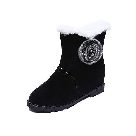 SamMoSon Botas Mujer Altas por Encima De La Rodilla,Mujeres Incresantes Botas De Nieve Sólidas De Invierno Botas De Nieve Cálidas Zapatos De Punta Redonda: ...