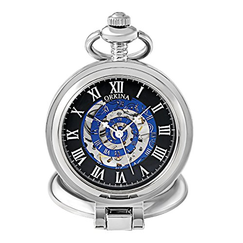 Skeleton Mechanical Hand-Wind Pocket Fob Watch Stainless Steel Case with Magnifier Cover (Silver)