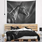 Designart TAP13467-39-32 'Black Arabian Horse Portrait' Animal Tapestry Blanket Décor Wall Art for Home and Office, Medium: 39 in. x 32 in, Created on Lightweight Polyester Fabric