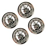 Fityle 4 Pieces Clear Skeleton Insert Clock Movement Quartz Battery Fit Up 91mm Silver Roman Dial