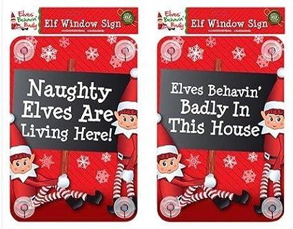`Elves Behavin/' Badly Here!' SIGN PROPS ON THE SHELF IDEAS TOY CHRISTMA