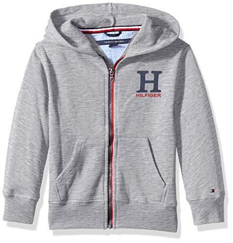 - Tommy Hilfiger Little Boys' Long Sleeve Matt Logo Zip up Hoodie, Matt Grey Heather, 7