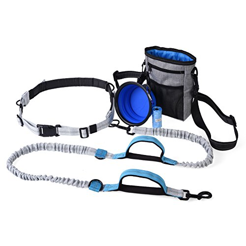 Dioche Hands Free Dog Leash, Free Control for Up to 150 lbs Dogs, Dual-Handle Reflective Bungee Leash with Adjustable Waist Belt and Dog Water Bowl for Hiking Running Walking Jogging