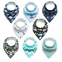 Baby Bandana Drool Bibs for Drooling and Teething, 100% Cotton Bandana Baby Bibs 8 Pack Gift Set For Boys & Girls, Absorbent Washable Comfortable and Adjustable Neckerchief