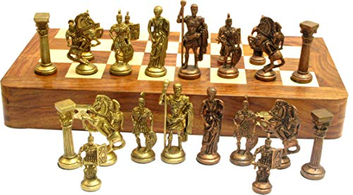 "Ages Behind Roman Brass Chess Set with 16"" Wooden Chess Box"