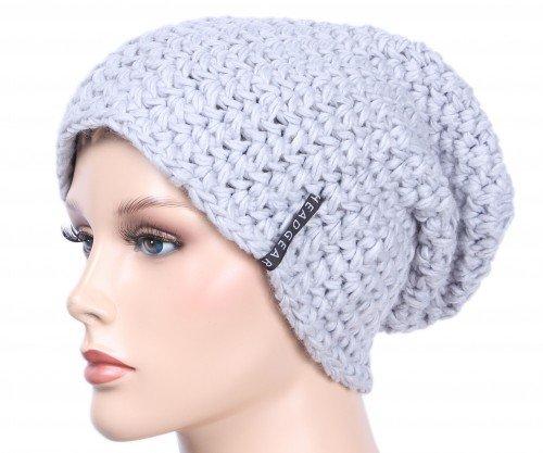 Slouch Beanie Häkelmütze Mütze für Damen und Herren vers. Farben Silver,One Size