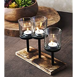 Elegant, Decorative Votive Candle holder Centerpiece, 3 Glass Votive cups On Wood Base/Tray For Wedding Decoration Dining Table