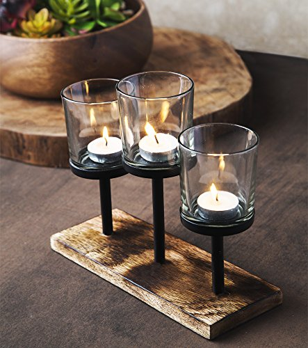 Elegant, Decorative Votive Candle holder Centerpiece, 3 Glass Votive cups On Wood Base/ Tray For Wedding Decoration Dining Table