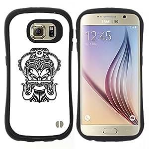 "Hypernova Slim Fit Dual Barniz Protector Caso Case Funda Para Samsung Galaxy S6 [Tinta Arte Negro Blanco Tatuaje""]"