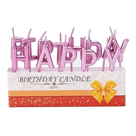 DYTJ-Candles Astilla Dorada Azul Feliz Cumpleaños Vela ...