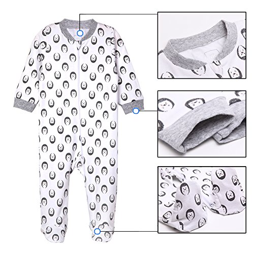 Footed Baby Pajamas Boys Girls Sleeper Long sleeve 100% cotton Zip 9-12 months