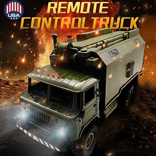 RC Military Truck with LED Light, 2.4G 1:16 4WD Off-Road Crawler Army Car Military Truck RTR, Military Transport Car Carrier Truck Toy Remote Control Hobby Toy RTR Car for Kids Adults Racing Training