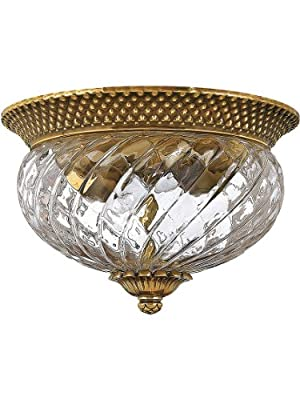 Plantation Flush Mounted Ceiling Light With Clear Optic Glass, In 3 Finishes