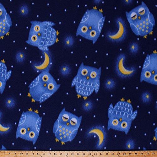 Fabric Fleece Baby - Fleece Owls Birds Moons Stars Sky Night Time Bedtime Kids Children's Babies Blue Fleece Fabric Print by the Yard (kpf1088-592r)