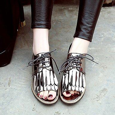 LFNLYX Las mujeres sandalias de charol comodidad verano Office & Carrera parte Casual & Noche Chunky Heel Lace-up Borla Rojo Gris oscuro caminando Dark Grey