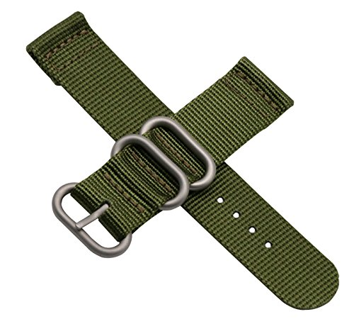 Luxurious Nylon Watch Straps Bands Nato style 24mm Replacements for Men Army Green Military Durable