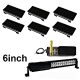 """Lightronic 6pcs Black 6"""" inch Snap On LED Work Light Bar Dust Proof Protective Lens Cover for 6inch 12inch 18inch 24inch 30inch Led Light Bar Cover (Curved and Straight LED Bar)"""