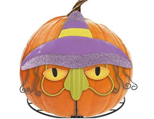(Instant Make A Face Iron Outdoor Halloween Pumpkin Stand Metal Pumpkin Holder Decor (Witch))
