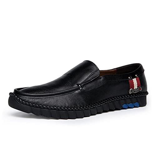 Shoes Mens Shoes Casual Leather Loafers height Increase Shoes Formal Business Work (Color : Black Size : 38)