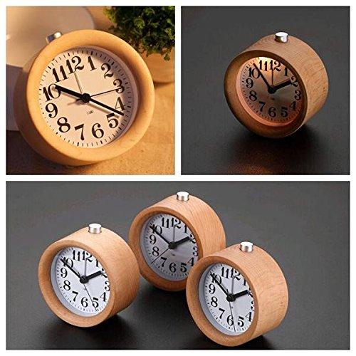 AUDEW Round Wooden Clock,Small Silent Desk Snooze beech Wood Alarm Clock,Handmade Mute Creative Alarm Clock with Nightlight