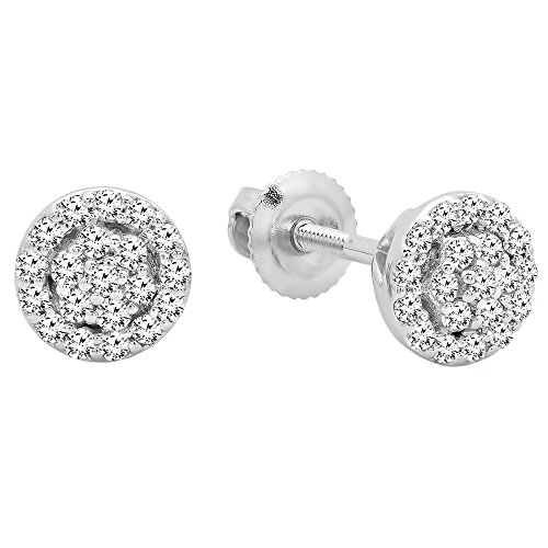 Dazzlingrock Collection 0.25 Carat (ctw) 10K Round White Diamond Ladies Circle Cluster Stud Earrings, White ()