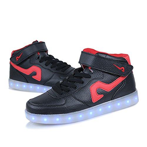 Schoenen Sneakers Zwart Lichtgevende Opladen Up Damesmode Top Light Heren Usb Annabelz Led Hoge fq51xwnC4