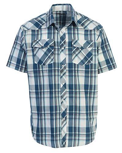 - Gioberti Men's Plaid Western Shirt, Turquoise/White, Medium