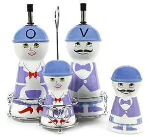 Purple Family Ceramic Oil and Vinegar Dispensers, Salt and Pepper Shakers Cruet Set
