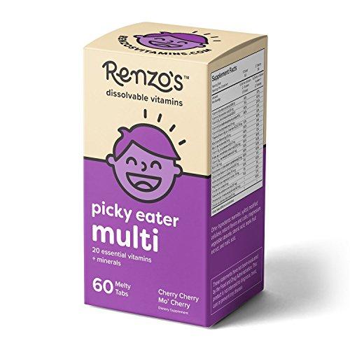 Renzo est Capricieux Multi, Temporaire de Vitamines pour les Enfants, Végétarien, sans Sucre, Cerise Mo' Saveur de Cerise, 60 Fonte des Onglets, un Supplément de Multivitamines pour Enfants