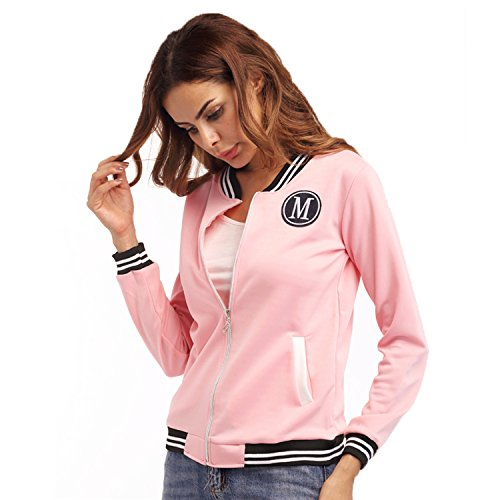 Devant Zippé Blouson Zipper Top Rose À Universitaire Rayé Aviator Jacket Aviateur Bomber Rayures Haut Veste Up Stand Varsity Collar Zip Flight TApwqIYx