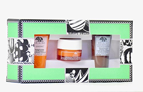 Energy Renewal Eye Cream - Origins Exclusive Energizers Mini Travel Size Trio Set - GinZing Gel Moisturizer, Eye Cream and High Potency Night-a-Mins