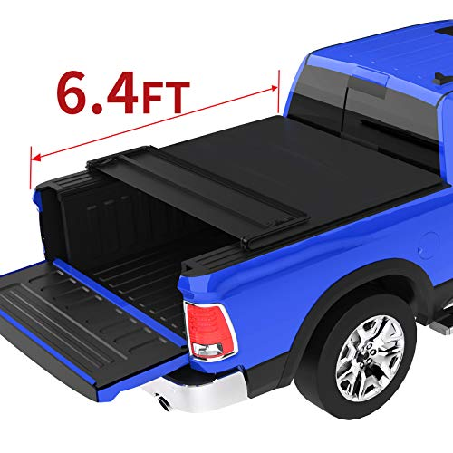 oEdRo Quad Fold Tonneau Cover Soft Four Fold Truck Bed Covers Compatible for 2002-2019 Dodge Ram 1500 (Incl. 2019 New Body); 2003-2018 Dodge Ram 2500 3500, Fleetside, 6.4' Bed (for Models w/o Ram Box)