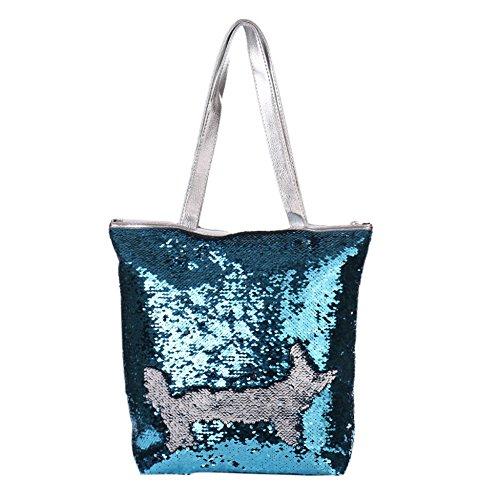 Femme Main Capacité Stock De Shopping Épaule Bleu nbsp;liquidation Simili Grande Voyage Cuir À Sac Bangle009 argenté Sequins P6YwEqn