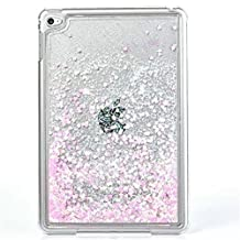 Liquid Case for iPad Mini 4,Creative Design Bling Glitter Shiny Quicksand Sparkle Stars and Flowing Liquid Transparent Plastic Case for Apple iPad Mini 4(Heart Pink)