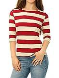 Allegra K Women's Elbow Sleeves Boat Neck Striped Christmas Tee L Red Beige