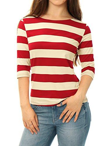 Allegra K Women's Elbow Sleeves Boat Neck Slim Fit Striped Tee Beige L (US 14)